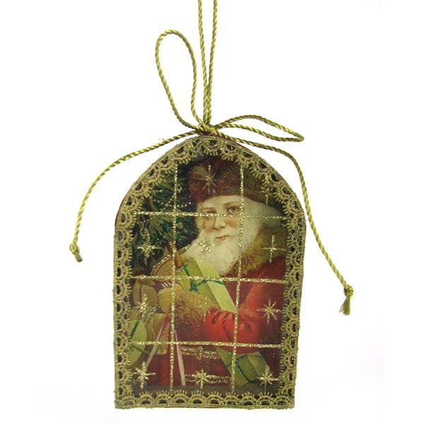 Country Living Vintage Christmas Postcard Ornaments – Santa