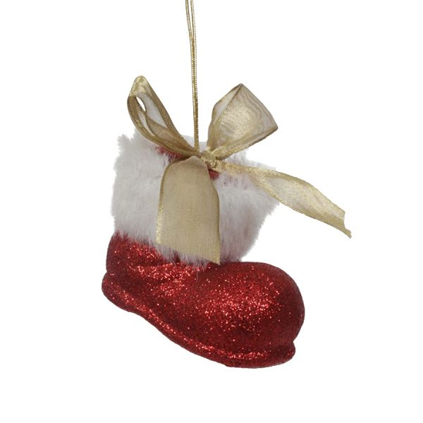 Country Living Vintage Christmas Glitter Santa Boot Ornament – Red
