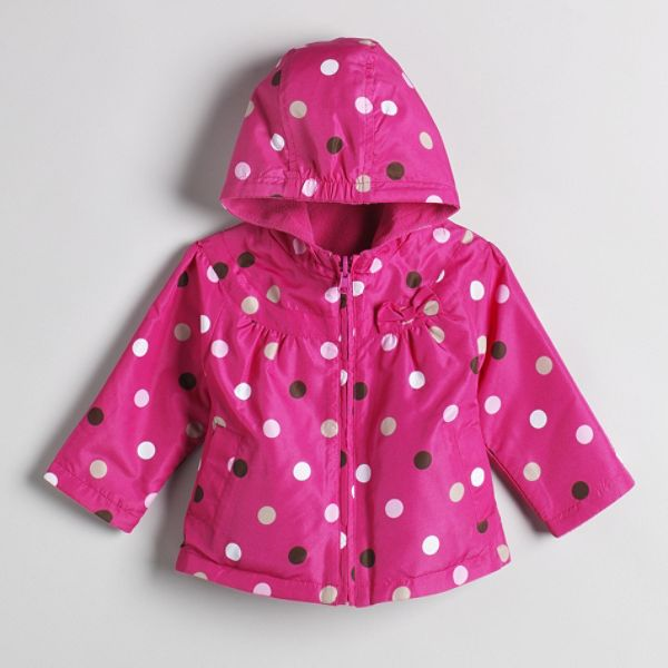 Carters Toddler Girls Midweight Hooded Reversible Dot Jacket