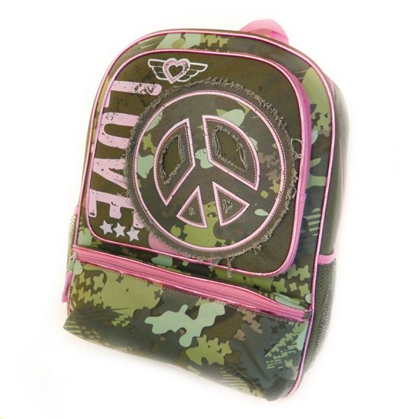 Pink Camo Peace Sign Backpack