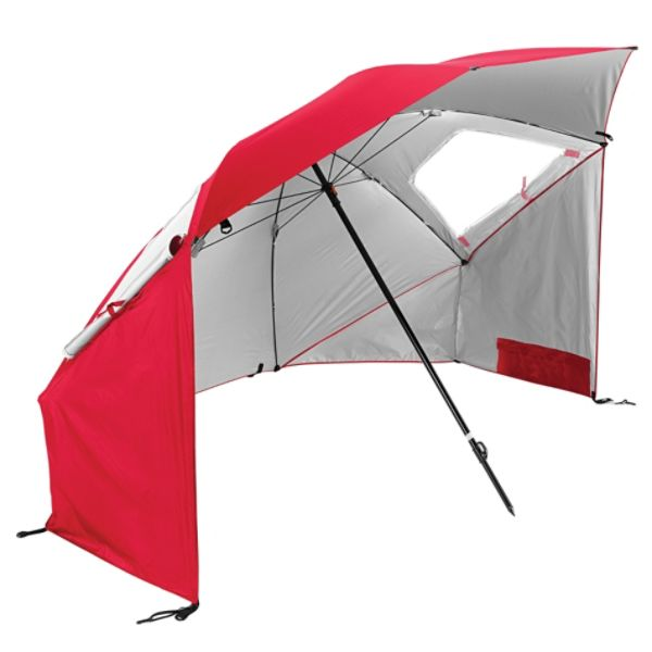 Rugged umbrella structure with side flaps for full cover protection. Top wind vents and side zippered windows for efficient airflow.
