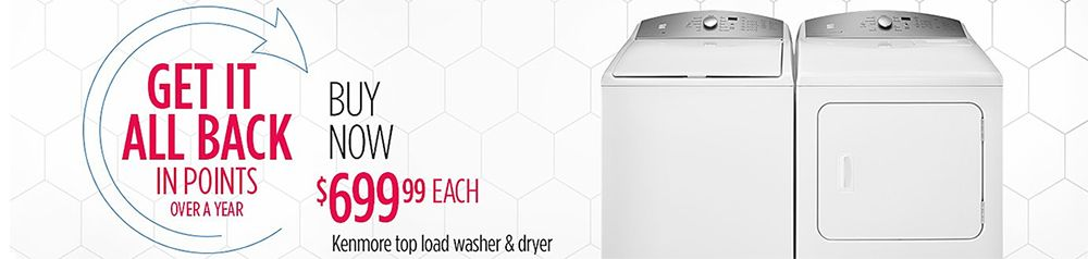 100% CASHBACK in points on featured washer and dryers