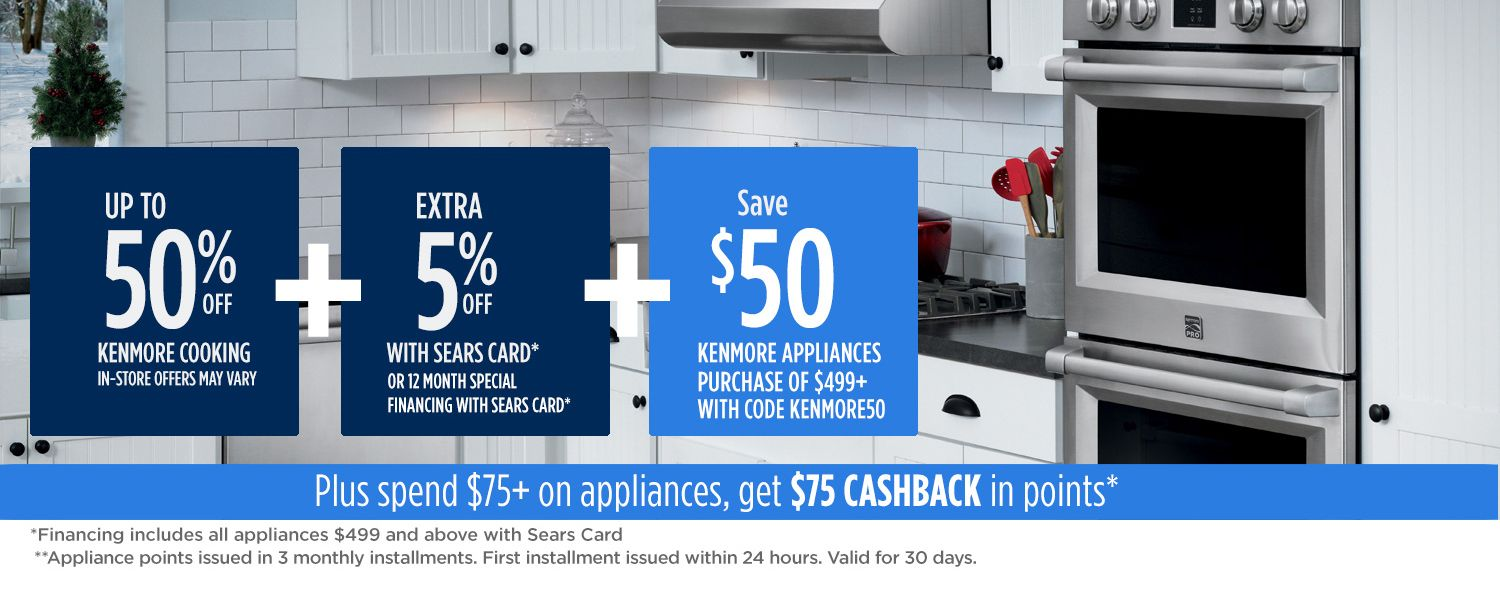 Up to 50% off Kenmore cooking + extra 5% off + spend $75, get $75 CASHBACK