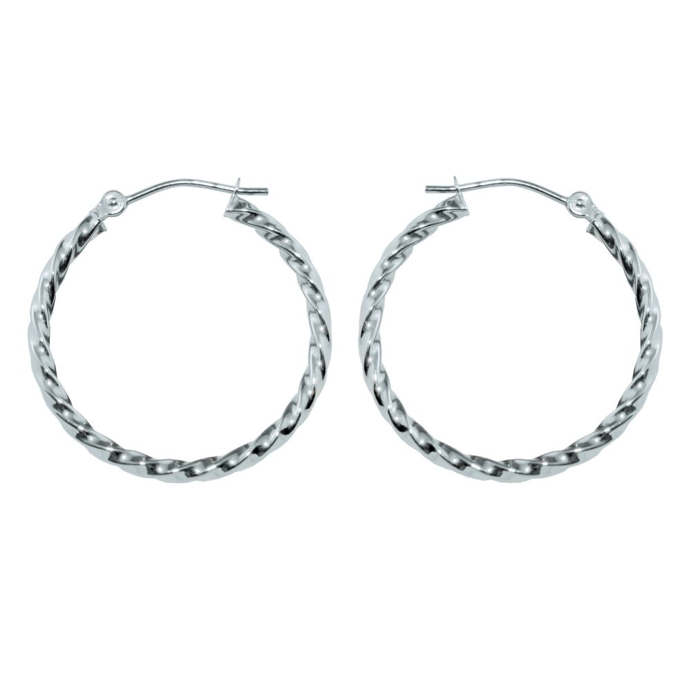 Kmart com Square Twist 1 8 X 5MM Hoop Earrings 10K White Gold Kmart com