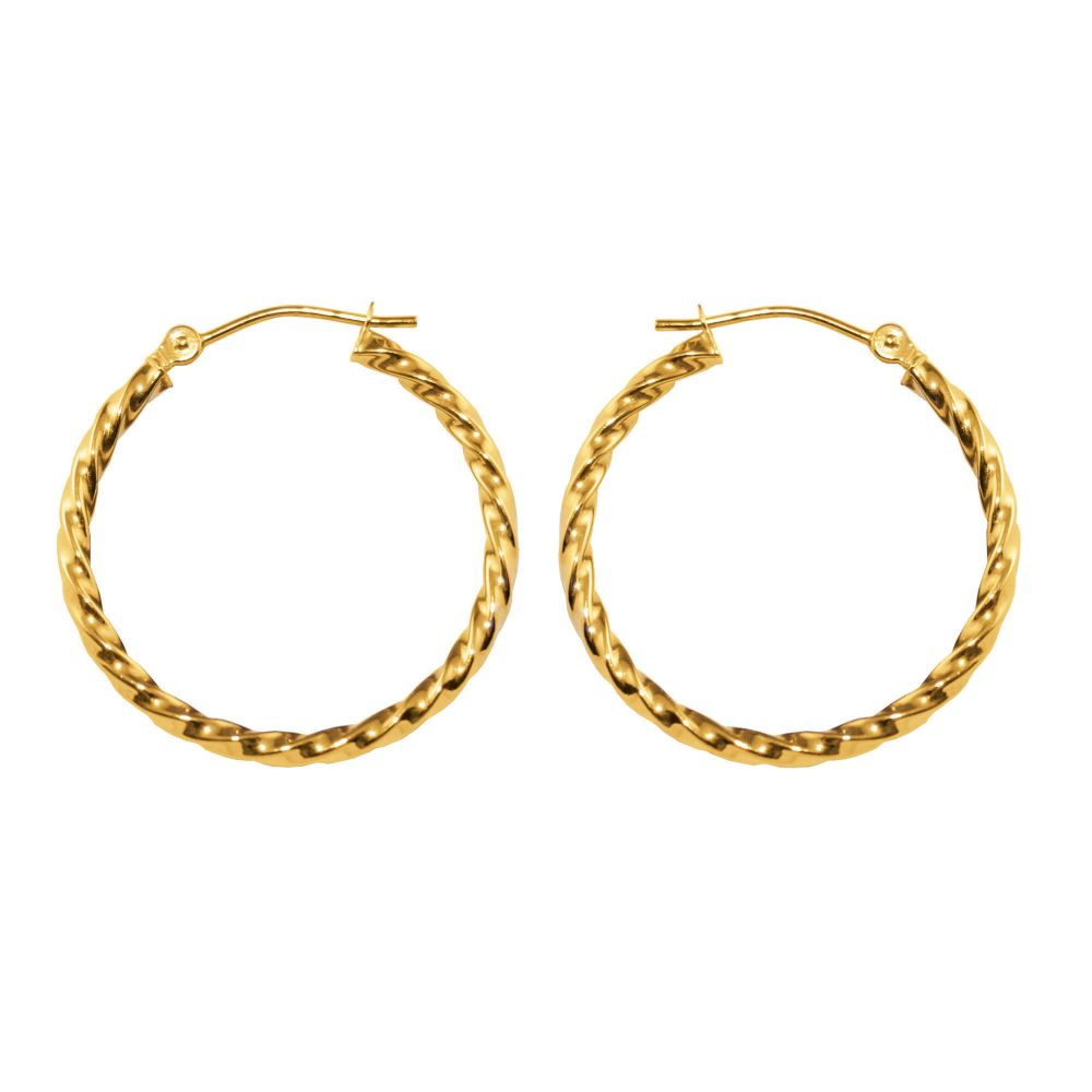 Kmart com Square Twist 1 8 X 5MM Hoop Earrings 10K Yellow Gold Kmart com