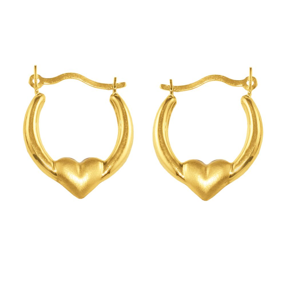 Kmart com Satin Heart Center Earrings 10K Yellow Gold Kmart com