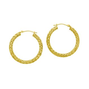 3 X ²9MM Mesh Round Diamond Cut Earrings 10K Yellow Gold.