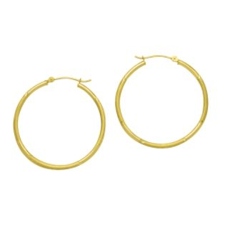 ²X35MM Round Diamond Cut Florentine Earrings 10K Yellow Gold.