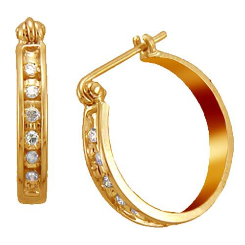 Kmart com 1 8 cttw Diamond Hoop Earrings 10K Yellow Gold Kmart com