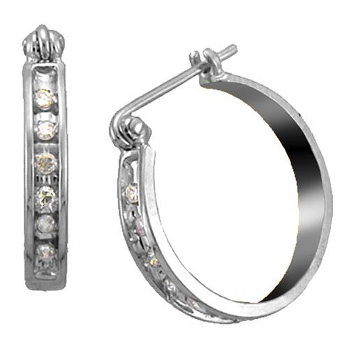 Kmart com 1 8 cttw Diamond Hoop Earrings 10K White Gold Kmart com