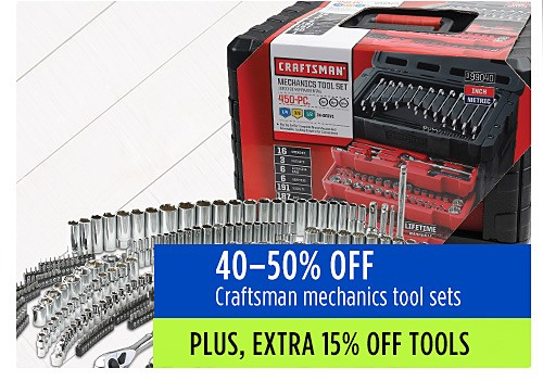 40-50% off Craftsman mechanics tool sets
