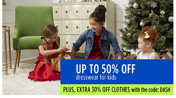 Up to 50% off dresswear for kids