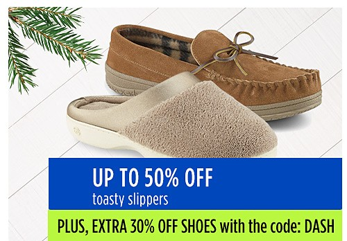 Up to 40% off toasty slippers
