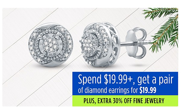 Spend $19.99+ get a pair of diamond earrings for $19.99