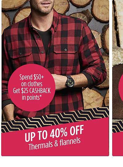 Up to 40% off thermals & flannels