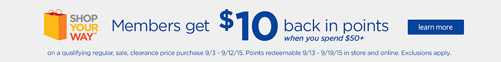 Get $10 back in points when you spend $50+