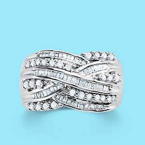 1 ct. diamond rings in sterling silver