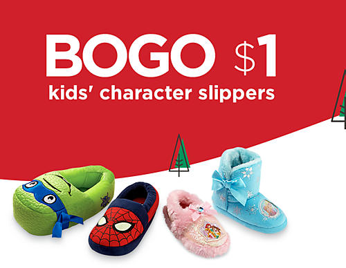 BOGO $1 Kids' Character Slippers