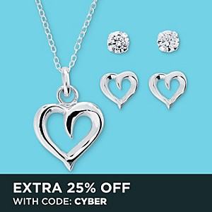 3 pc. Pendant & Earring Heart Set