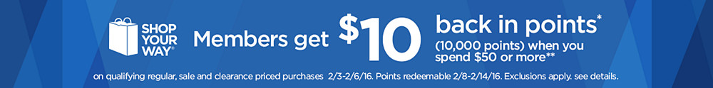 Members get $10 back in points when you spend $50 or more