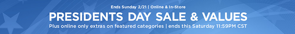 Presidents Day Sale and Values