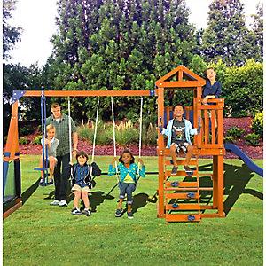 Wooden swingset & trampoline, $379.99
