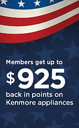 Members get up to $925 back in points on Kenmore Appliances