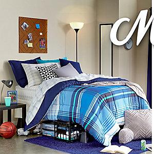 Campus bedroom furniture, bedding & decor - Blue Plaid