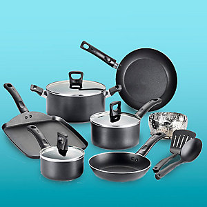 T-fal 12-piece stanles steel non-stick set in banquet gray