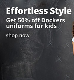 Effortless style Get 50% off Dockers uniforms for kids.