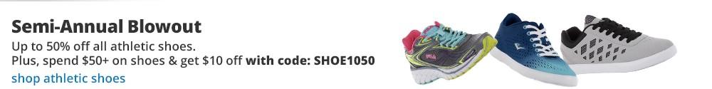 Todas las zapatillas atléticas para la familia en oferta con hasta 50% DE DESCUENTO. Además, si gastas $50 o más en zapatos obtienes un descuento adicional de $10 con el código SHOE1050