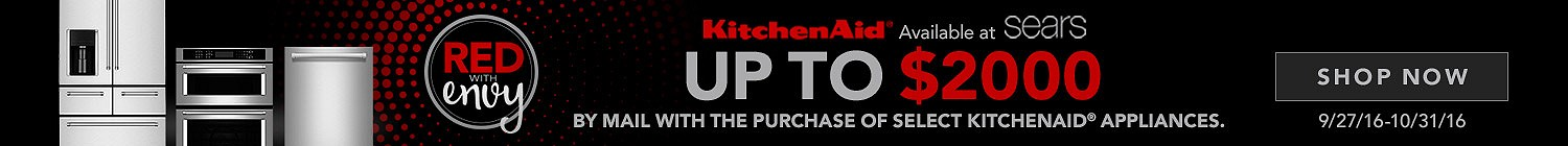 KitchenAid Red With Envy. Up to $2000 by mail with the purchase of select KitchenAid appliances