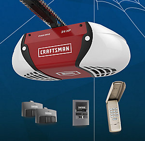 Craftsman 3/4 HP Chain Drive Garage Door Opener with two Multi-Function Remotes Keypad and Motion Detecting Wall Control Sale $199.99, Reg $245.99