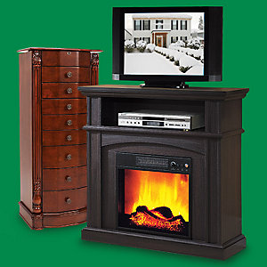Up to 30% off furniture Featuring Louis Jewelry Armoire $179 & Wakefield Fireplace, $149.99