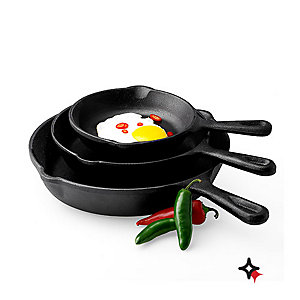 Essential Home Cast Iron Cookware, $17.99 Or 3-pk fry pans, reg. $24.99