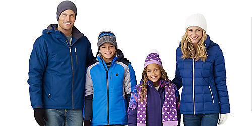 Up to 60% off outerwear for her, him & the kids