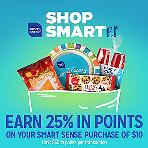 Smart Sense | SHOP SMARTer | Earn 25% IN POINTS ON YOUR SMART SENSE PRUCAHSE OF $10 | Limit $50 in pointer per transaction see details