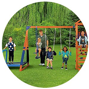 Sportspower Wood Jump 'N Swing Set with Trampoline