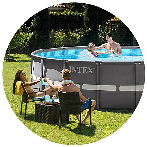 "Intex 16' x 48"" Round Ultra Frame® Pool Set (1,500 gph Filter Pump, Ladder, Ground Cloth, Cover, DVD)"