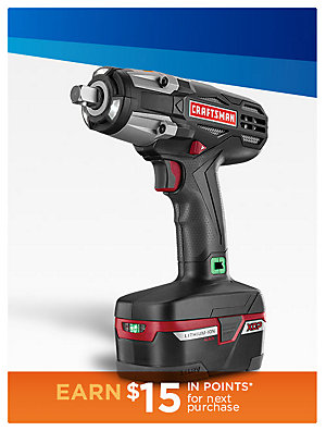 "Up to 50% Off Tools Craftsman C3 1/2"" Heavy Duty 19.2V Cordless Impact Wrench Kit, sale $149.99 
