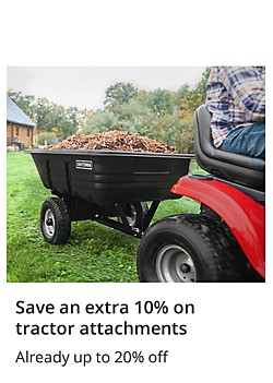 Save an extra 10% on tractor attachments already up to 20% off