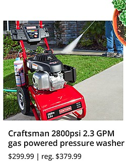 Craftsman 2800psi 2.3 GPM gas powered pressure washer $299.99 | reg. $379.99