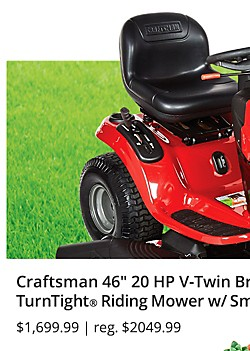 "Craftsman 46"" 20 HP V-Twin Briggs & Stratton Hydrostatic TurnTight® Riding Mower $1,699.99 