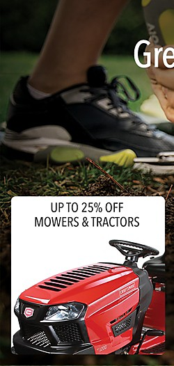 Up to 25% off mowers and tractors