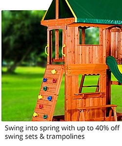 Swing into spring with up to 40% off outdoor play, swing sets and trampolines