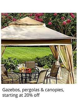 Gazebos, pergolas and canopies starting at 20% off