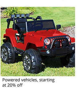 Powered Vehicles starting at 20% off
