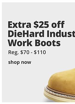 Extra $25 OFF DieHard industrial work boots with code: DIEHARD25  (reg. $70 - $110)