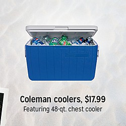 Coleman coolers $17.99 | Featuring 48-qt chest cooler