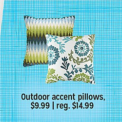 Outdoor accent pillows $9.99 | reg. $14.99